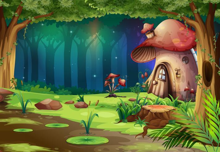 Casa de setas en el bosque oscuro