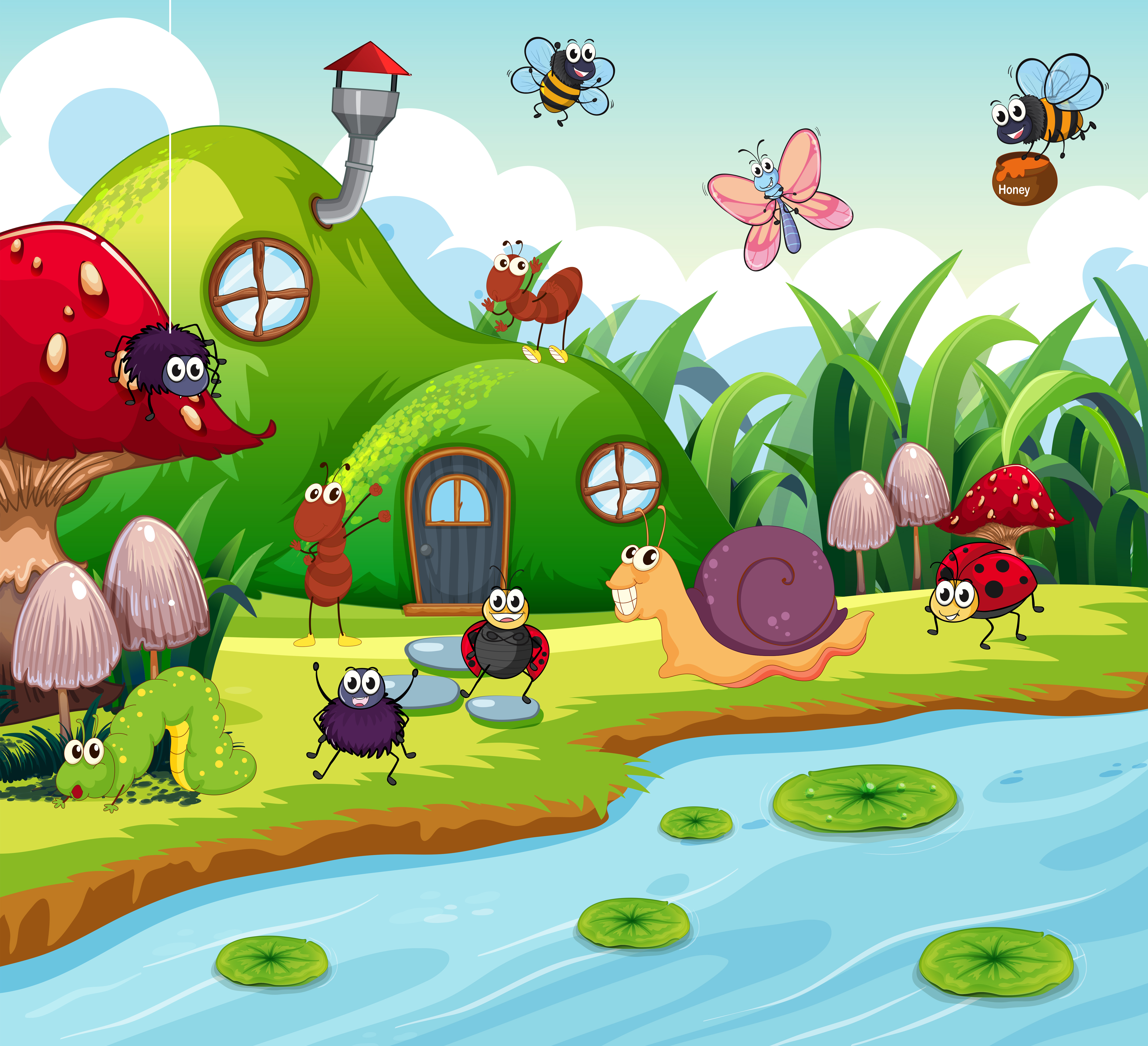 Insect In The Fairy House Download Free Vector Art