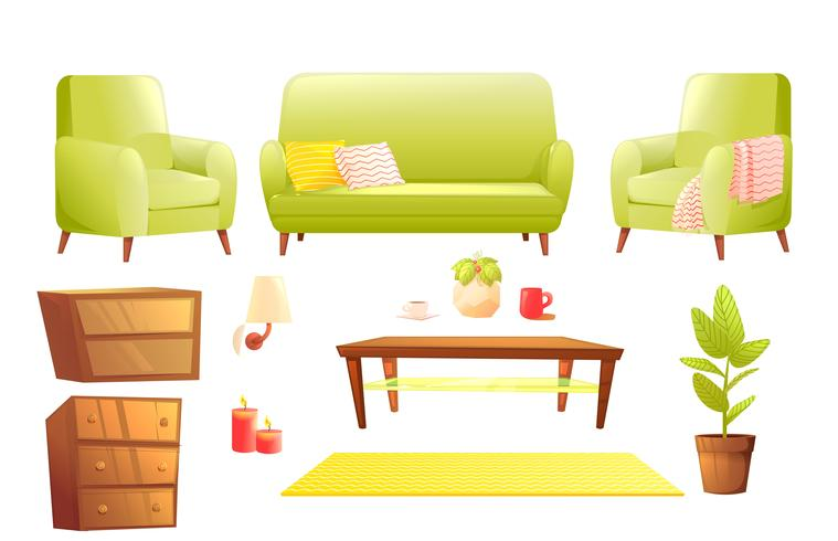 Furniture design set. Modern Sofa and chairs with a blanket, pillows and next to a wooden coffee table. Vector cartoon illustration