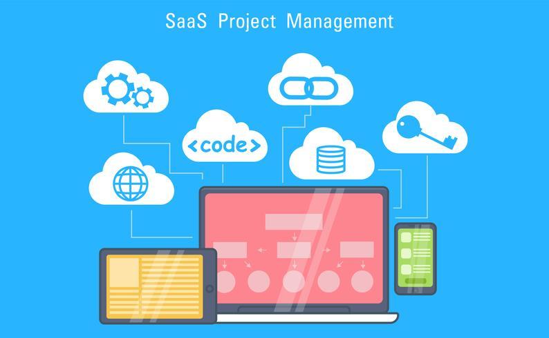 SaaS-marketingbanner. Laptop, tablet en telefoon, cloudopslag met pictogrammen. Vector vlakke afbeelding