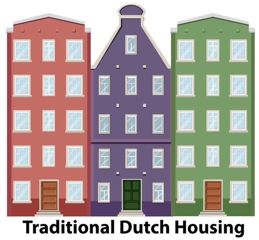 Set of traditional dutch housing