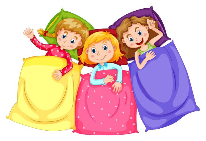 Girls in pajamas at slumber party vector
