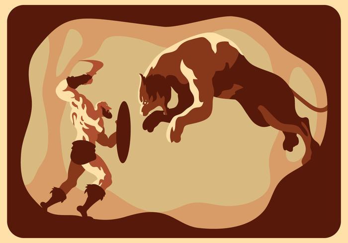 Gladiator gegen Tiger-Vektor
