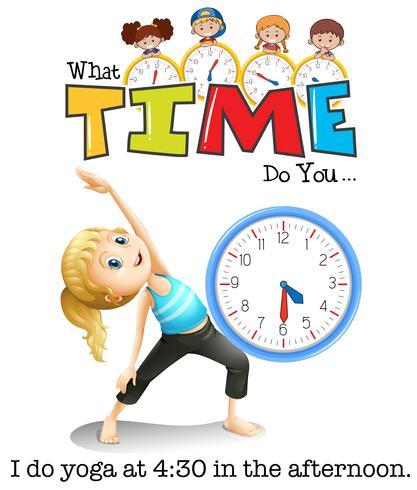 Een meisje doet yoga om 4:30