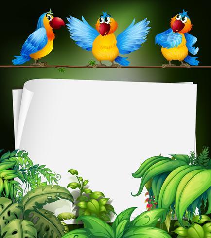 Pappersdesign med tre papegojor på gren