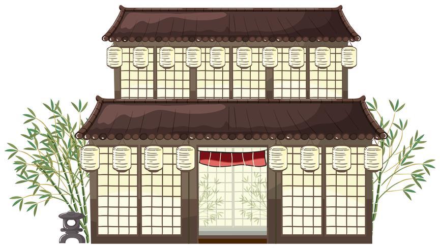 edifício oriental com lanternas e bambu