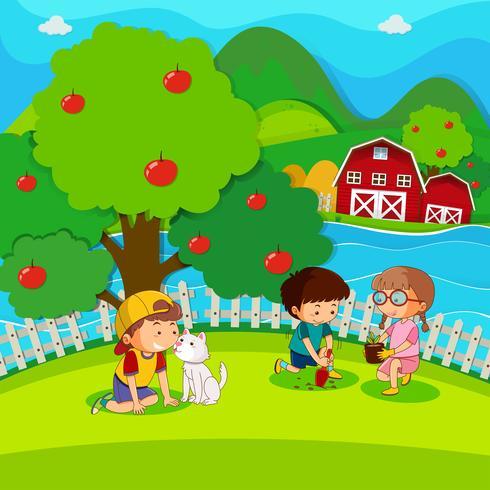 Três crianças, plantar árvore, parque
