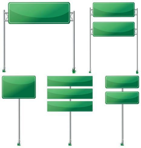 Verschillende ontwerpen van groene tekens