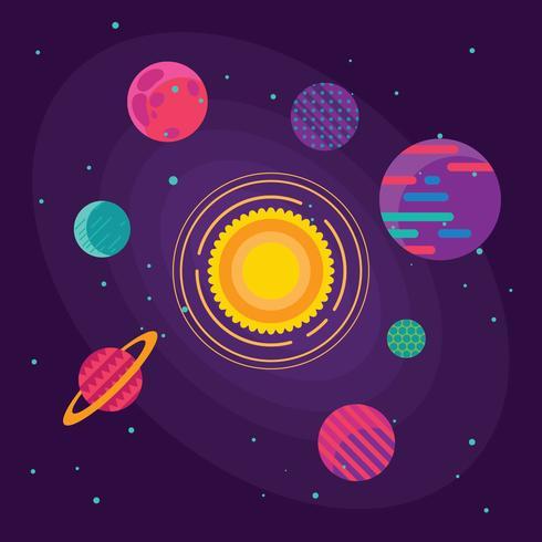 Set van ongebruikelijke kleurrijke levendige planeten op universum achtergrond