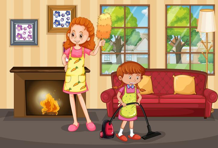 Moeder en dochter schoonmaak huis