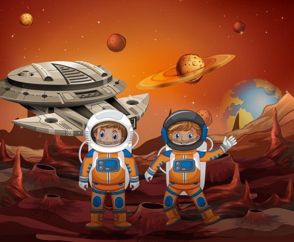 Astronaut utforskar ny planet