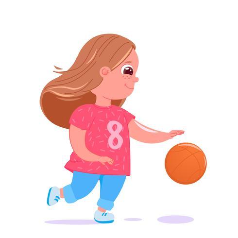 Bebé bonito que joga o basquetebol com uma esfera. Uniforme moderno do time do jogador. Atividades saudáveis. Vetorial, caricatura, ilustração