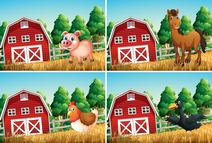 Set van landbouwhuisdieren