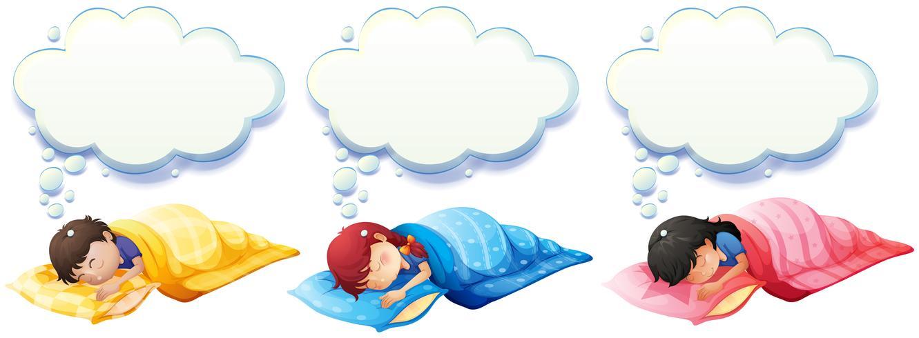 Jongen en meisje slapen onder de deken