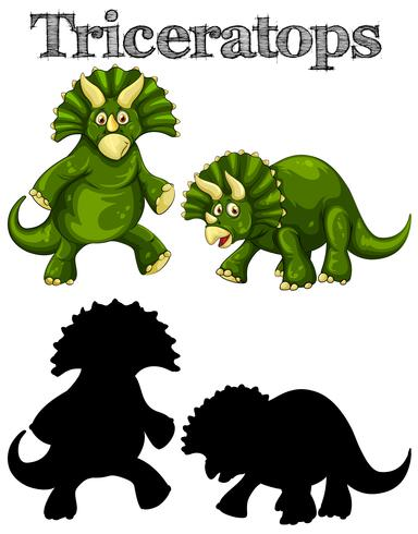 Triceratops in two actions with silhouette