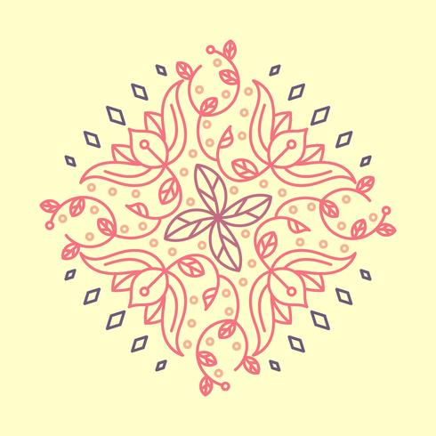 Flat Indian Flower Kolam Pattern Vector Illustration