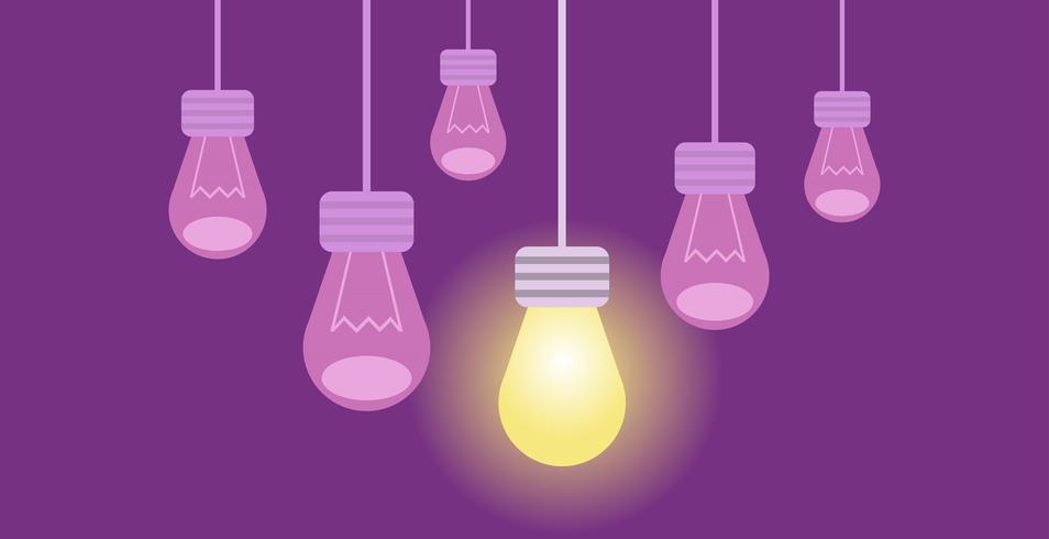 Banner de inovação. Várias lâmpadas em um fundo roxo, uma das quais ilumina o resto. Ilustração vetorial plana