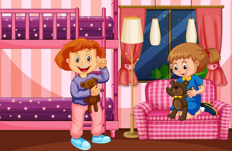 Scena della camera da letto con due ragazze e letto a castello