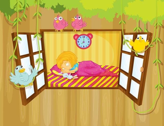 Een jong meisje slaapt