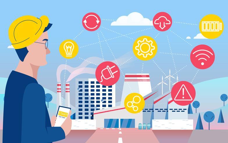 Fábrica inteligente. Impacto na fabricação online. Internet das Coisas. Ilustração vetorial plana
