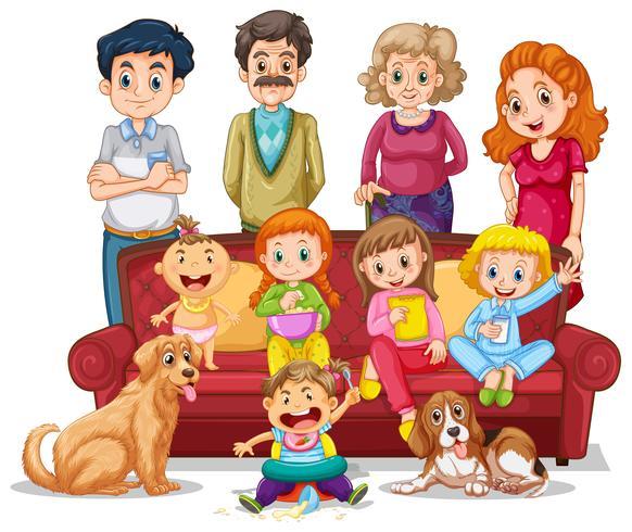 Mensen in familie in woonkamer