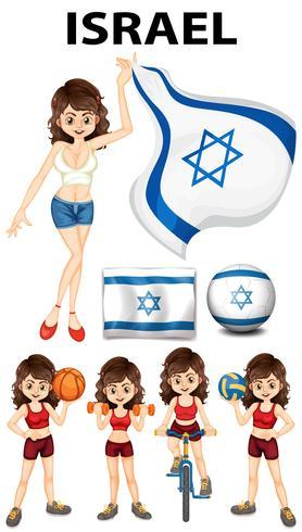 Bandeira de Israel e mulher atleta vetor