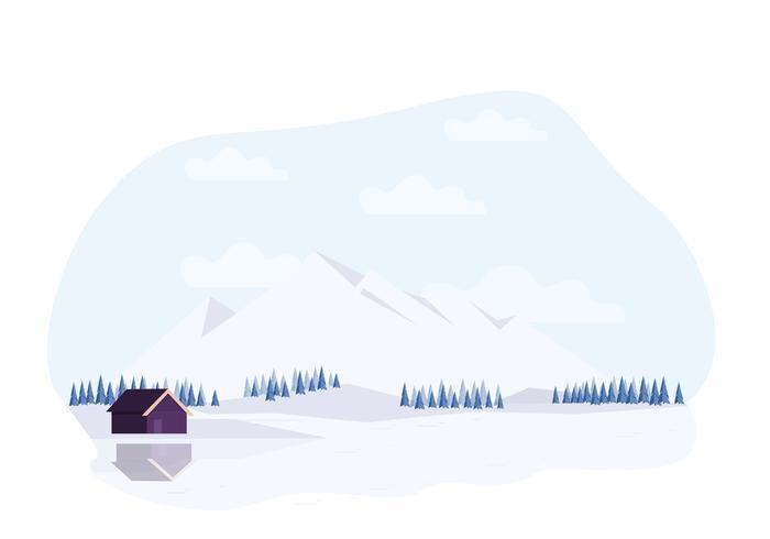 Vektor vinter landskap illustration