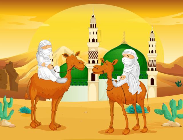 Moslimmannen op kamelen in de woestijn