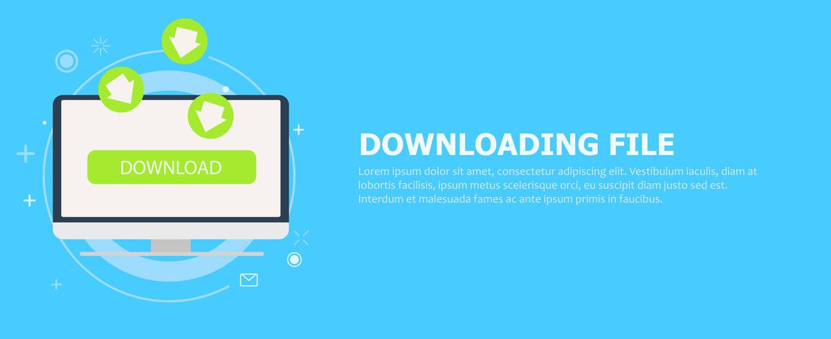 Downloading file to computer banner. The green arrows going to the monitor. Vector flat illustration