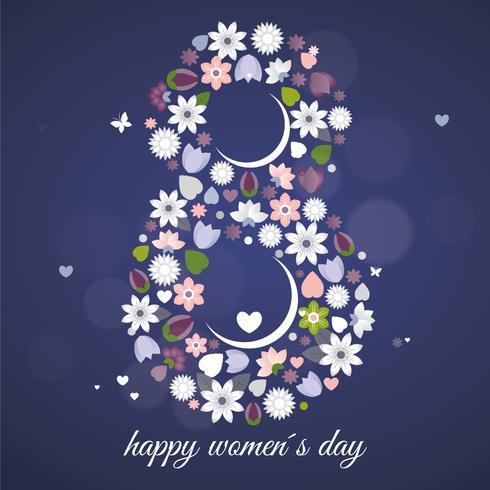 Tarjeta de felicitación del día de la mujer del vector