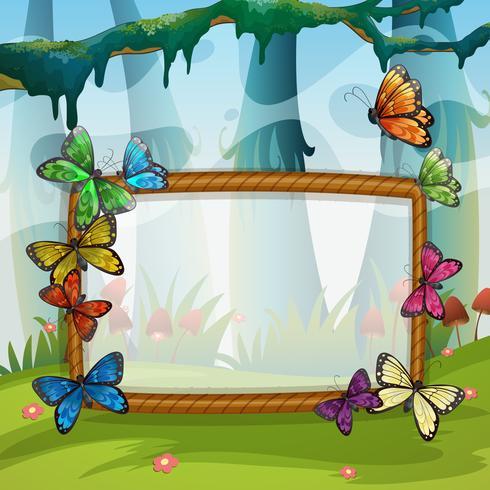Frame design with butterflies in garden