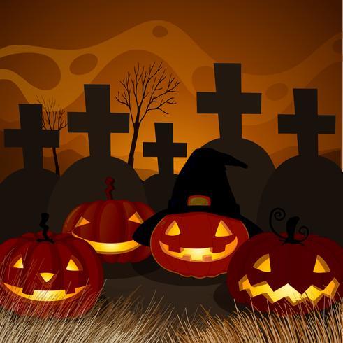 Abóbora de Halloween na noite do cemitério