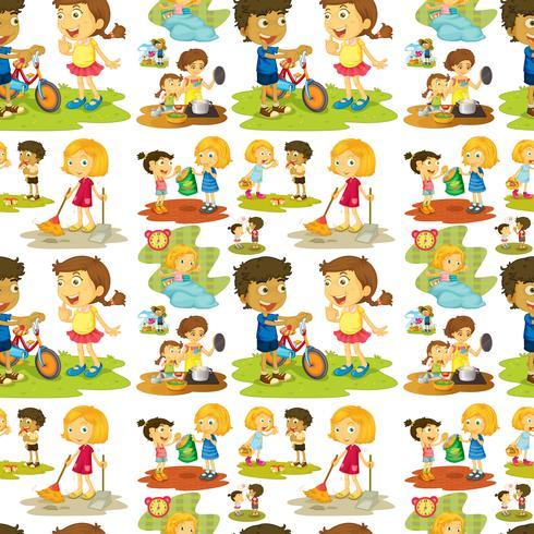 Naadloze kinderen die en karweien spelen doen