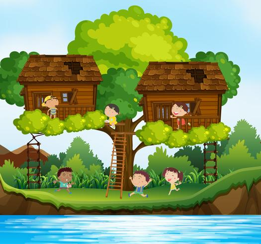 Many children playing in treehouses on the tree