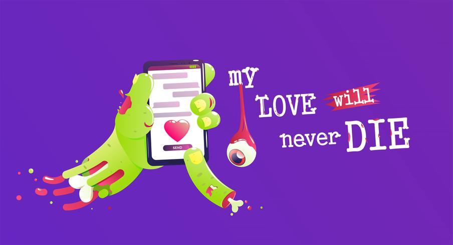 La main d'un zombie avec un os et du sang envoie un message d'amour. Drôle Saint Valentin. Mon amour ne mourra jamais. Illustration de dessin animé de vecteur