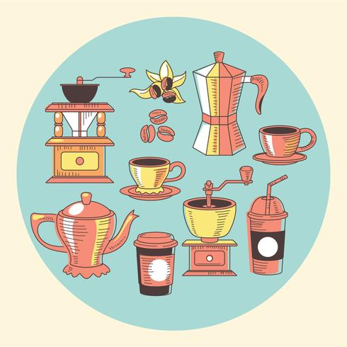 Hand Drawn Coffee Elements Set with Vintage Style vector