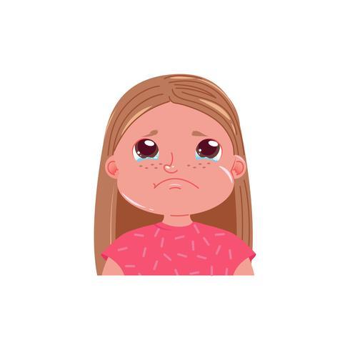 La niña linda está llorando. Niño triste emoción con lágrimas en los ojos. Ilustración vectorial de dibujos animados vector
