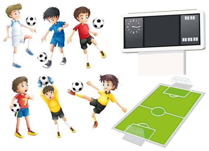 Jogadores de futebol e campo