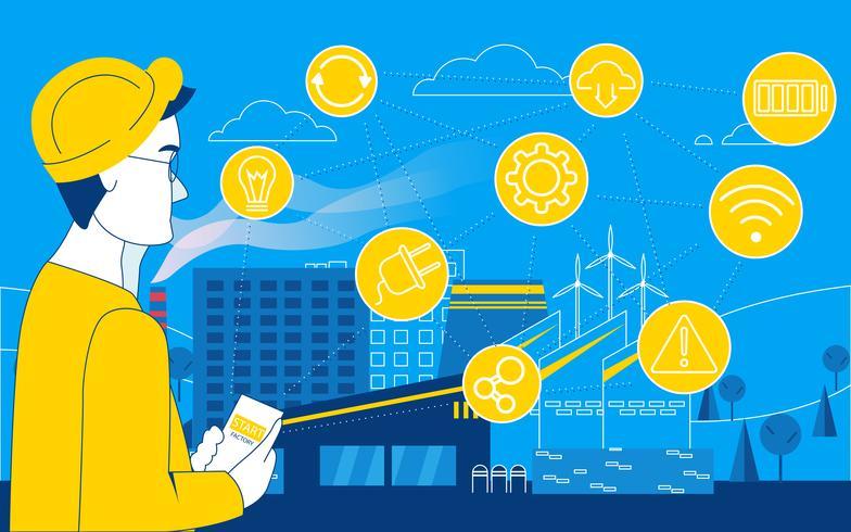 Smart fabrik. Påverkan på tillverkning online. Internet av saker. Vektor platt illustration