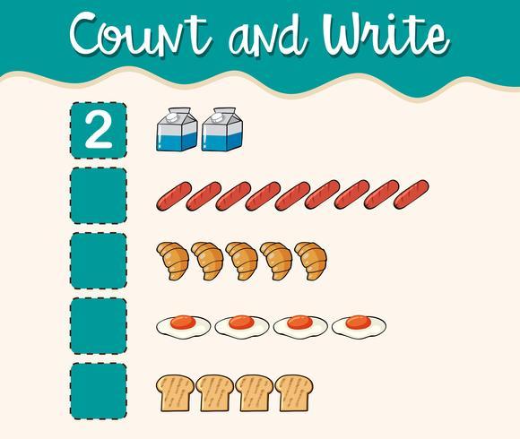 Zählen und schreiben Sie mit verschiedenen Lebensmitteln