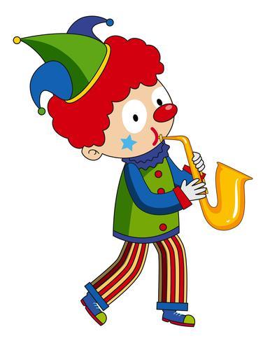 Heureux clown jouant du saxophone