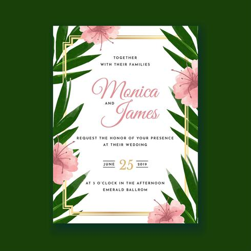 Tropische bloem aquarel bruiloft uitnodigingskaart