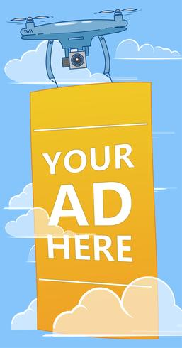 Drones with ads banner flying in sky. Multicopter advertising your business. Vector flat illustration