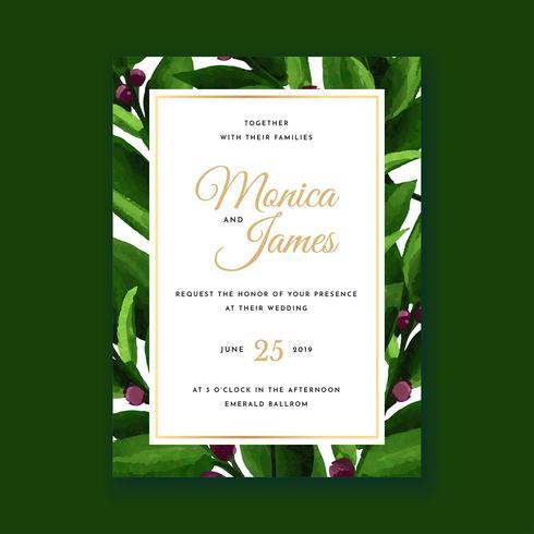 Carte d'invitation de mariage d'aquarelle florale