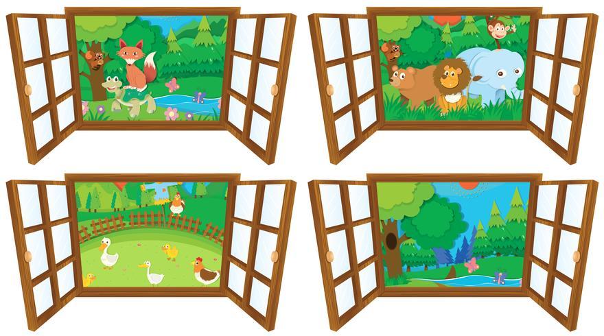 Windows avec quatre vues de la ferme et de la forêt