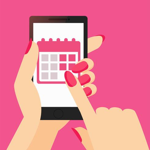 Um aplicativo do calendário de faixa de período de uma mulher no telefone em sua mão
