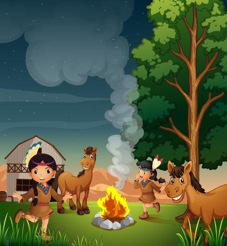 Eine Farm mit indischen Mädchen