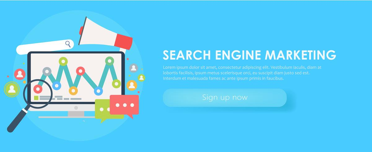 Search Engine Marketing banner  Computer with object