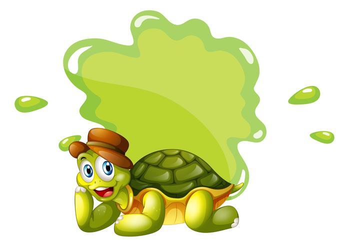 Eine Schildkröte am unteren Rand einer leeren Vorlage