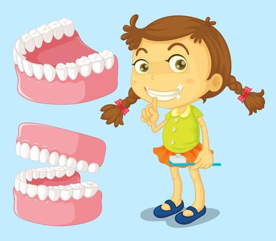 Kleines Mädchen mit sauberen Zähnen